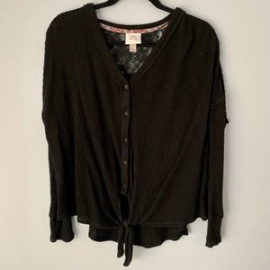 Tie front, waffle knit, lace back shirt
